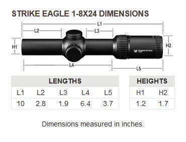 Vortex Optics Strike Eagle 1-8x Dimensions